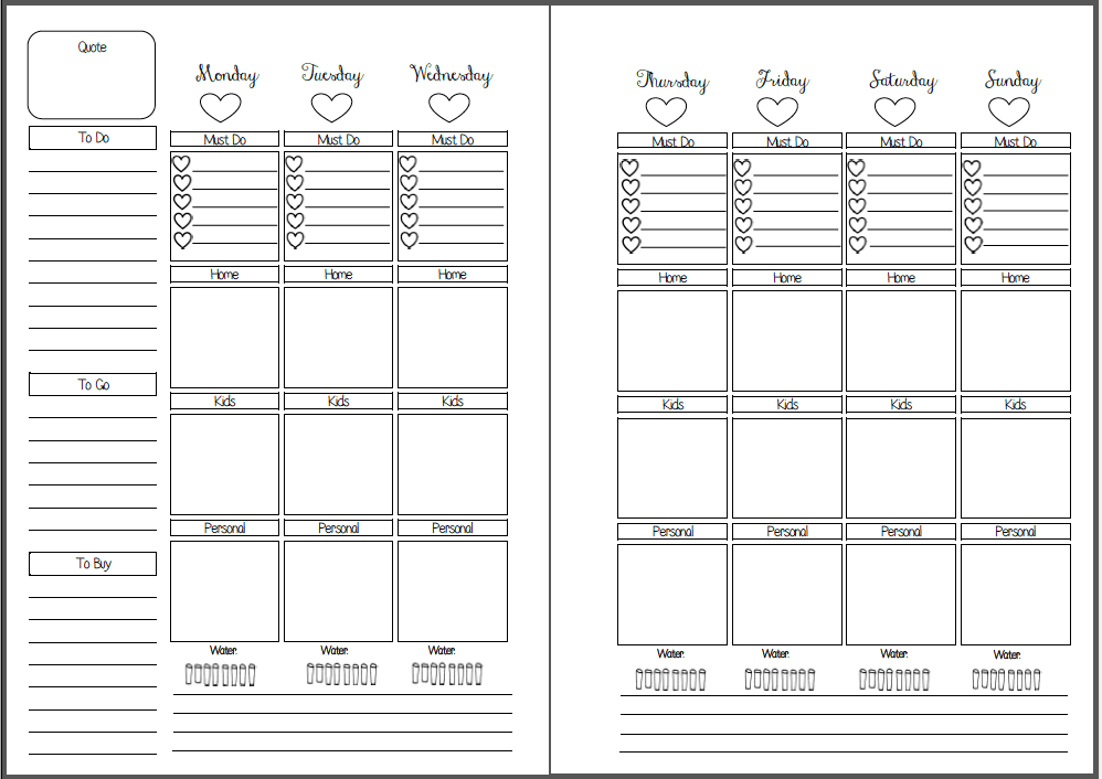 week on two pages