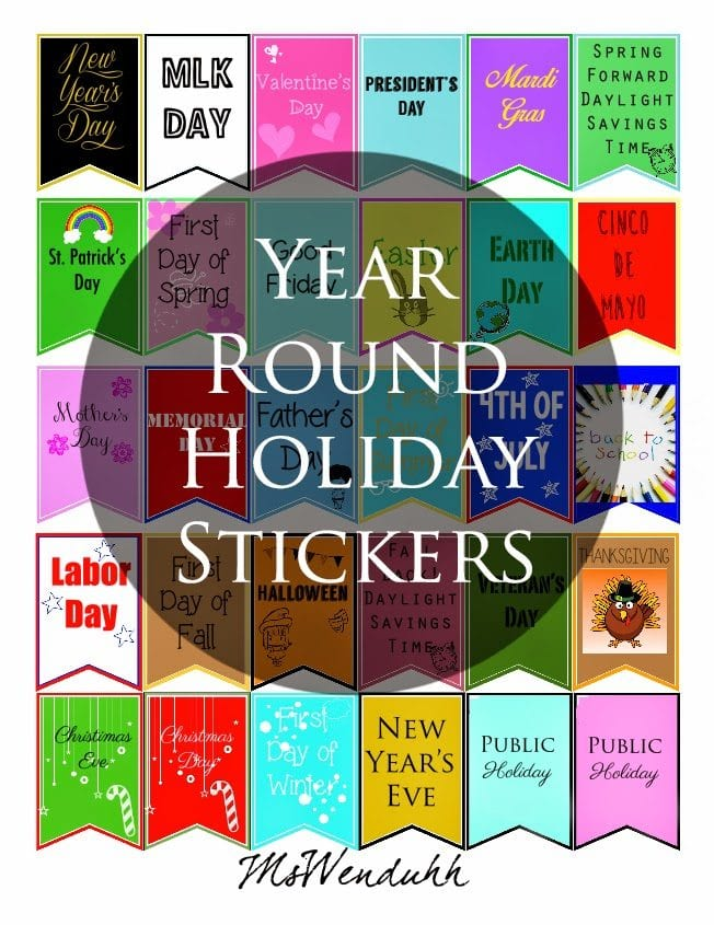 image relating to Free Printable Christmas Stickers titled Yr Spherical Family vacation Stickers Wendaful Coming up with