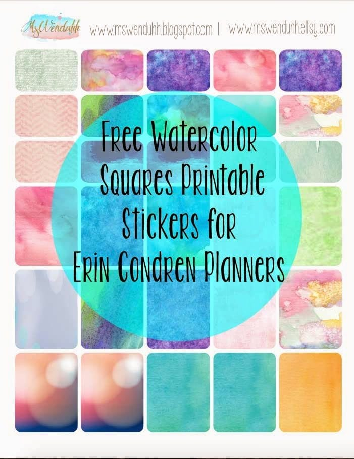 free printable stickers watercolor squares for erin condren planners