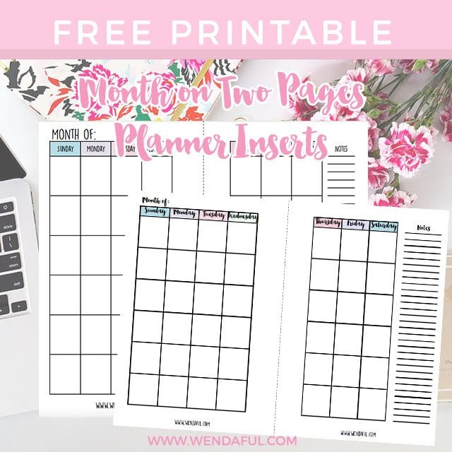 free undated month on two pages planner inserts wendaful planning