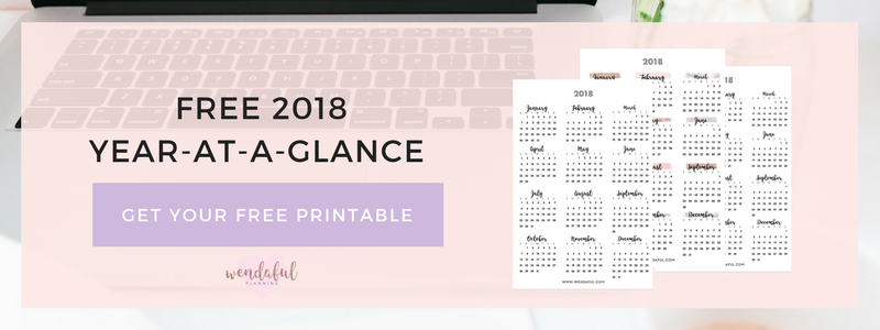 2018 year at a glance calendar for planners wendaful planning